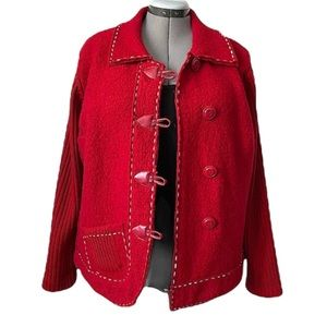 Red Orly Boiled wool jacket with Great details XL